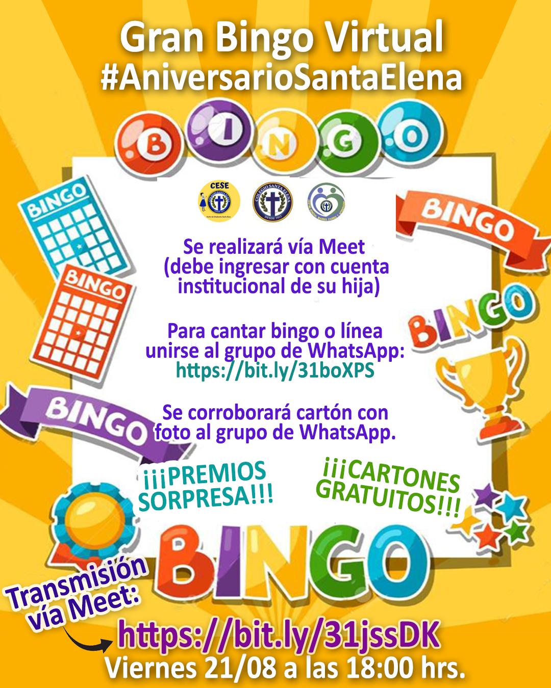 Invitación Bingo Aniversario Santa Elena- 19/08