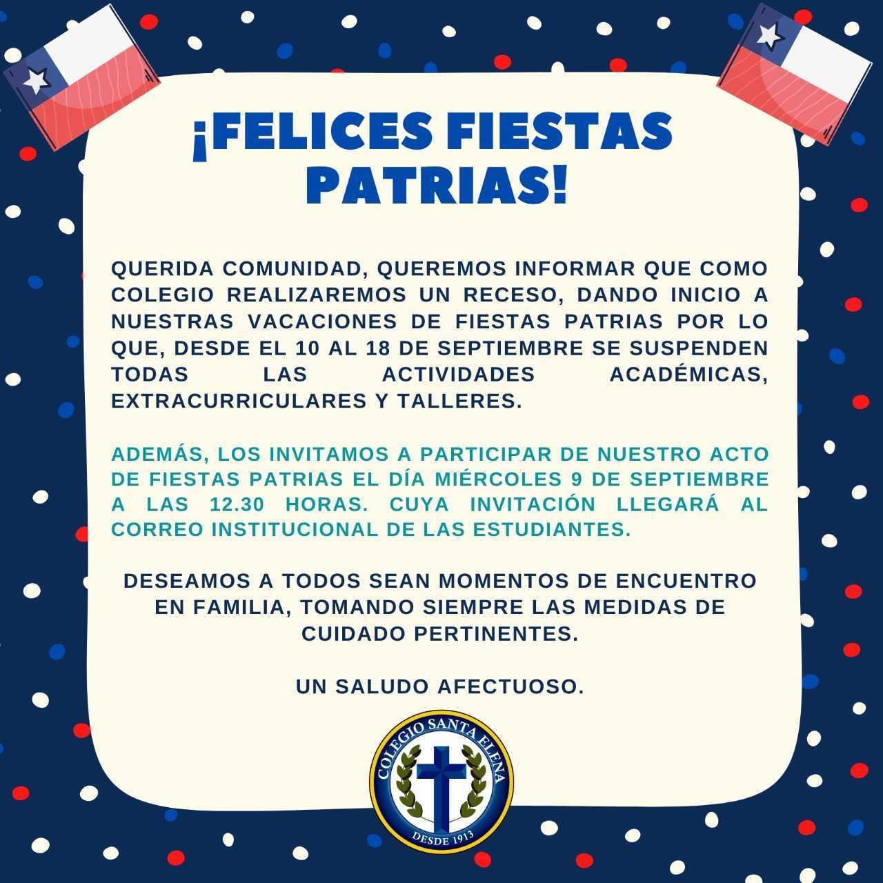 Receso Fiestas Patrias - 08/09