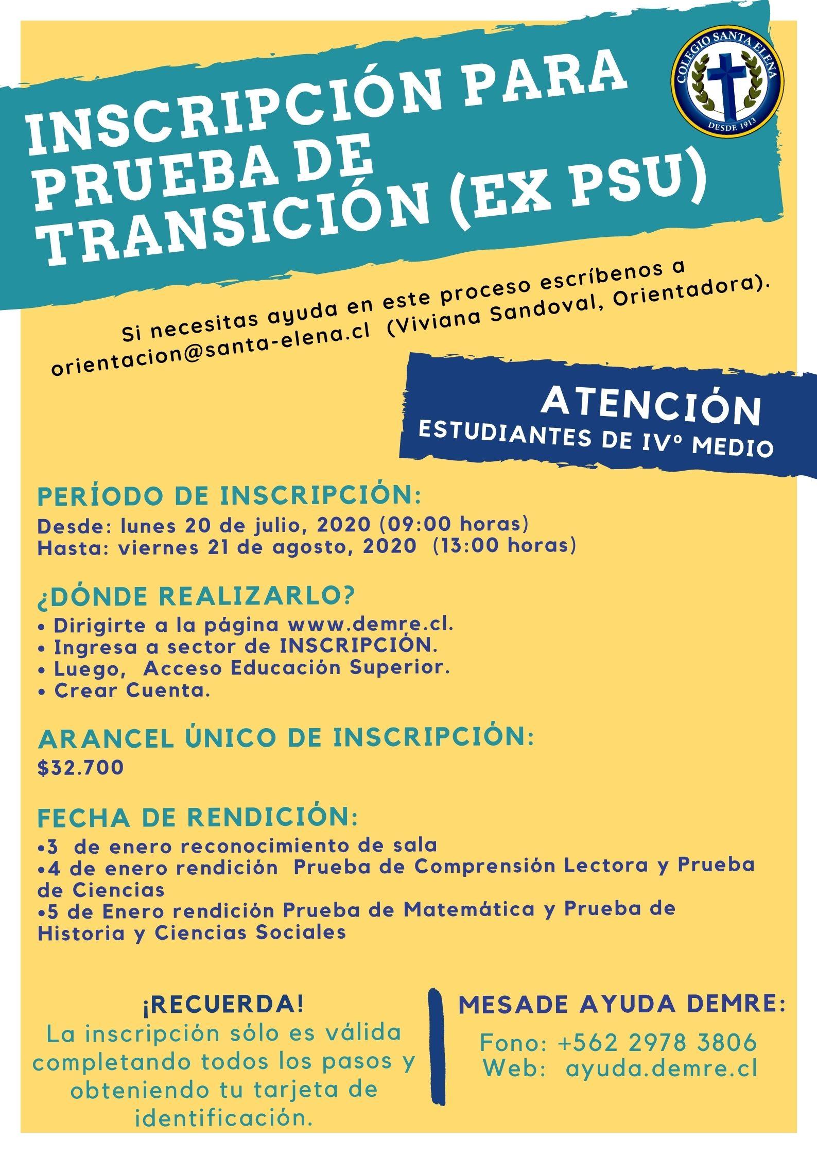 Inscripción para Prueba de Transición - 22/07